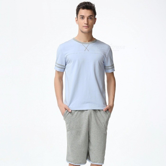 Buy Summer Men\'s Pajama Set, Casual Cotton Short-Sleeve T-Shirt And Short Pants Sky Blue/M with Litecoins with Free Shipping on Gipsybee.com