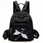 Oxford-Cloth-Backpack-For-Women-Embroidery-Dragonfly-Pattern-Fashion-Small-Shoulder-Bag-Handbag-Black
