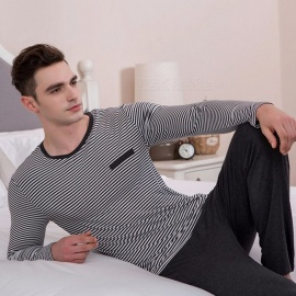 Modal-Mens-Striped-Pajama-Set-Comfortable-Long-Sleeve-Shirt-And-Trousers-For-Autumn-Spring-GrayM