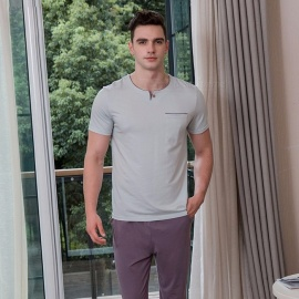 Summer-Spring-Mens-Pajama-Set-Casual-Cotton-Short-Sleeve-T-Shirt-And-Long-Pants-Trousers-LavenderM