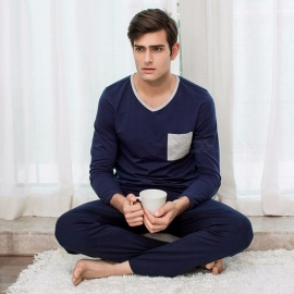 Mens-Cotton-Pajama-Set-Comfortable-Long-Sleeve-V-Neck-Shirt-And-Trousers-For-Autumn-Spring-BlueM