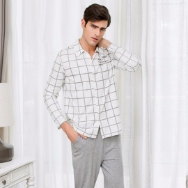 Cotton-Mens-Plaid-Pajama-Set-Comfortable-Long-Sleeve-Turn-Down-Collar-Shirt-And-Trousers-For-Autumn-Spring-IvoryM