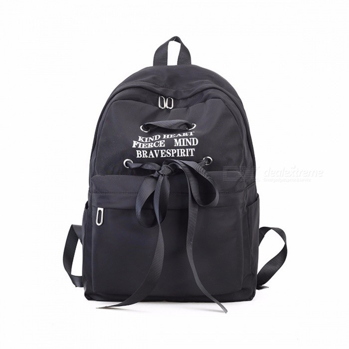 Women Canvas Backpack, Ladies Shoulder School Bag Rucksack For Girls, Travel Fashion Cute Ribbon Bag Black