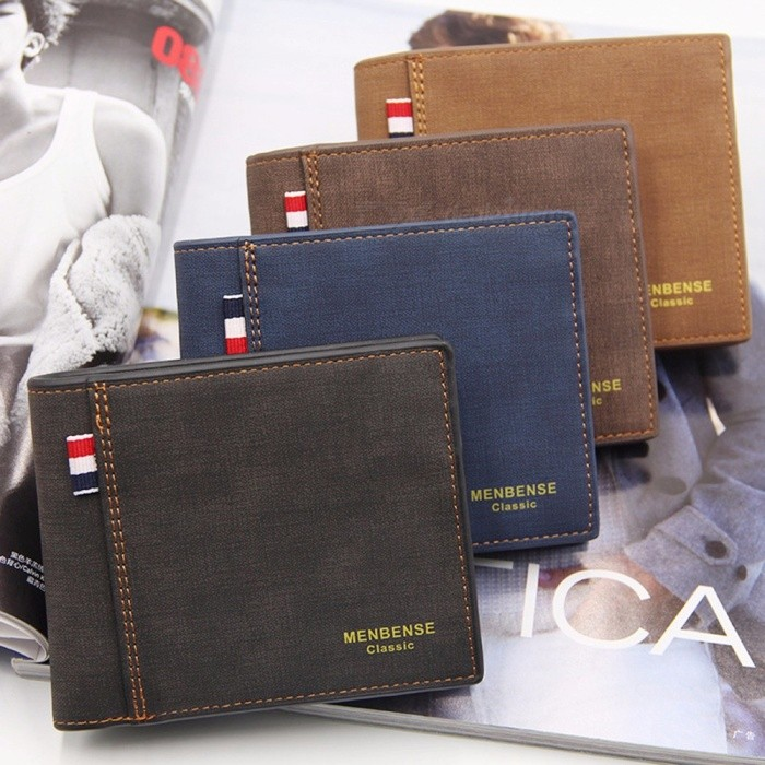 Men PU Wallet Retro Business Matte Three Fold Short Wallet Coin Bags Fashion Purse Large Capacity