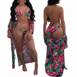 3-in-1-Printed-Tropical-Beach-Sleeve-Blouse-Bikini-Cover-2b-Triangle-Halter-Top-2b-Bottoms-Swimsuit-Three-Piece-Suit-RedS