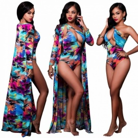 2-Pieces-Set-Print-Swimsuits-Long-Blouse-Cover-Sexy-Strap-One-Piece-One-Shouder-Bikini-Set-Womens-Summer-Beach-Clothes-BlueS