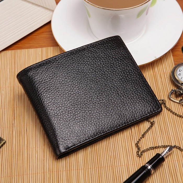 Leather-Mens-Wallet-Top-Cow-Leather-Short-Wallet-Coin-Purse-Folding-Wallet-For-Men-Black