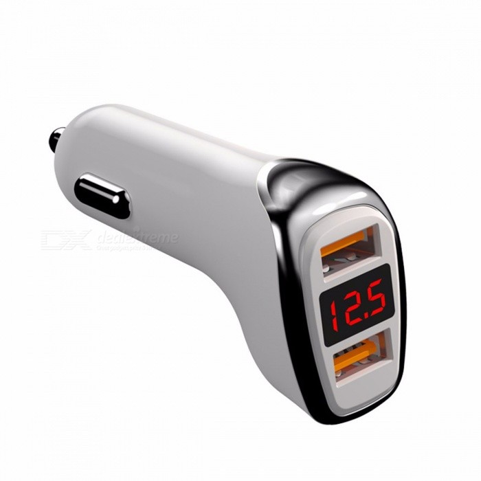 Dual USB Multifunctional Digital Display Car Charger Displaying Voltage And Current For IOS Android Phones
