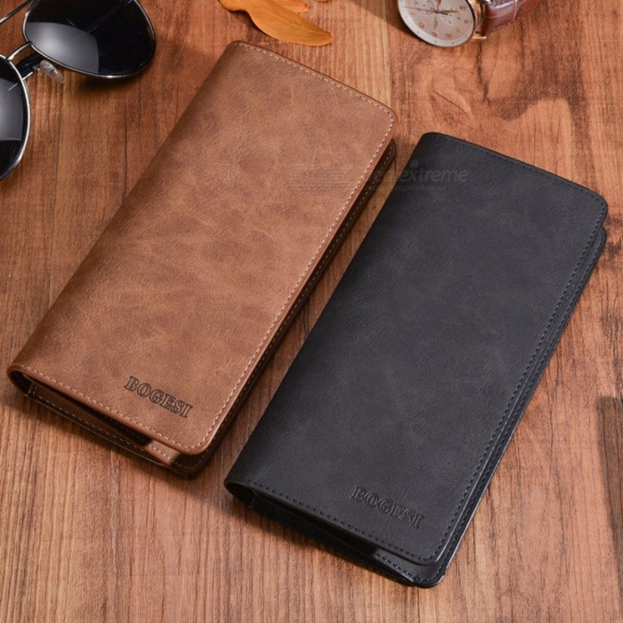 Retro Fashion Men's Quality Ultra-thin PU Long Wallet Large Capacity Multi-Card Holder Cash Organizer Coin Purse