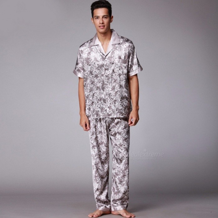 Dragon Pattern Mens Pajama Set Spring And Summer Silk Short Sleeve Top + Elastic Waist Long Pants Pajamas Sleepwear Camel/L