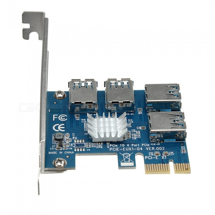 PCI-E-4-Port-PCI-E-Card-PCI-Express-Expansion-Card-Riser-USB30-Adapter-for-Mining
