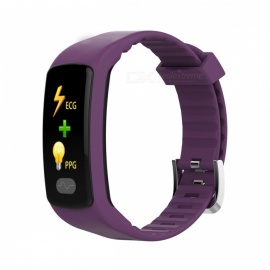 DMDG Smart Bracelet Fitness Tracker Heart Rate Monitor ECG/PPG Blood Pressure Waterproof Watch for IOS Android- Purple