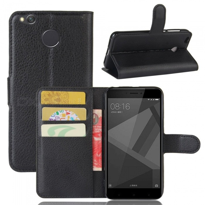 Buy PU Leather Flip Open Back Full Body Case w/ Stand for Xiaomi Redmi 4X - Black with Litecoins with Free Shipping on Gipsybee.com
