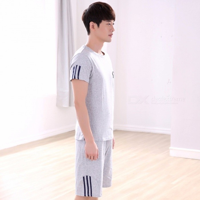 Sporting Suit Men Casual Sportswear Solid Color Short-sleeve T Shirts + Shorts Two Piece Pajama Sets Gray/L