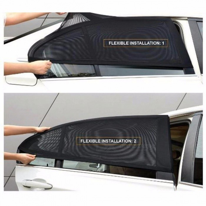 Car Window Cover Sunshade Curtain UV Protection Shield Sun Shade Visor Mesh Solar Mosquito Dust Protection 126*52cm Black