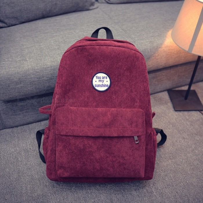 Vintage Corduroy Backpack For Women, Pure Color Casual Shoulder Bag Handbag For Girls Black