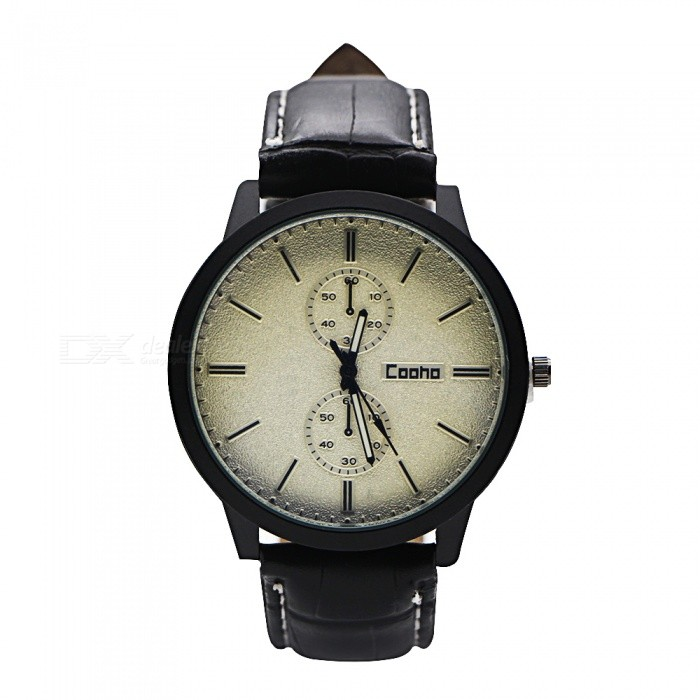 Cooho C01 Men's Watch Fashion Stylish Faux Leather Strap Quartz Wristwatch