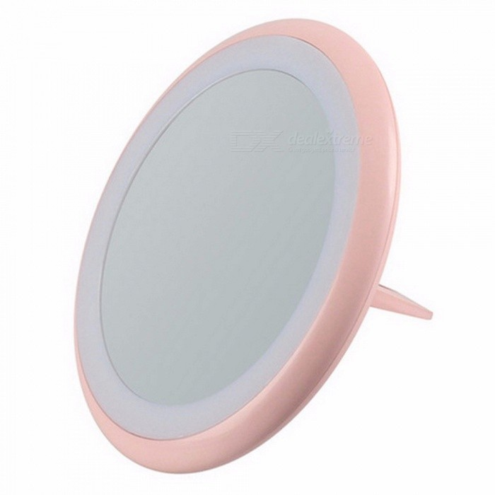 Buy LED Lighted Makeup Mirror With Light Strap Finger Ring Stand Ultra-thin Foldable Swivel Ring Cordless Portable Mirror Pink with Litecoins with Free Shipping on Gipsybee.com