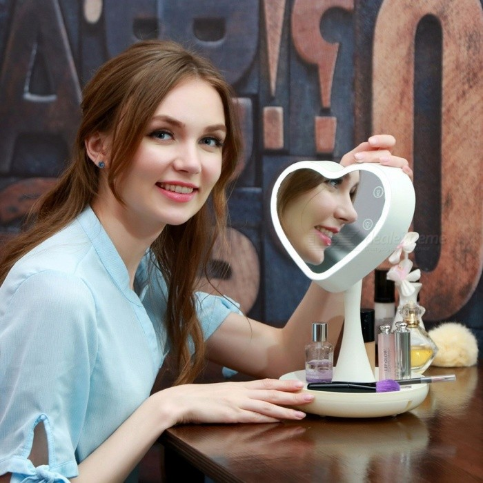 Buy Rechargeable Touch Screen Lighted Makeup Mirror LED Lamp Table Stand Cosmetic Mirror Night Light White with Litecoins with Free Shipping on Gipsybee.com