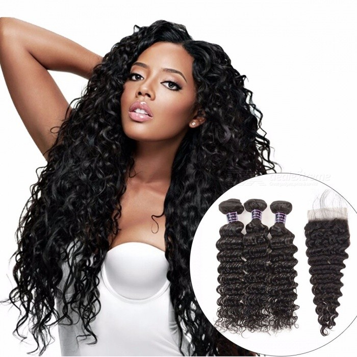 Deep Wave Human Hair Bundles With Closure, Natural Color Brazilian Hair Weave 3 Bundles With Closure 12 14 16 Closure 10Middle Part