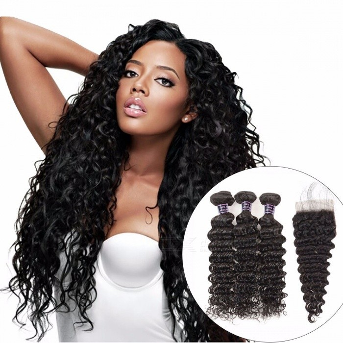 Deep Wave Bundles With Closure, Non Remy Hair Lace Closure With 3 Bundles, Indian Human Hair Bundles With Closure 26 28 28 Closure20/Three Part