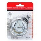 Battery-Free Wall Thermometer and Hygrometer/Humidity - Silver + Black