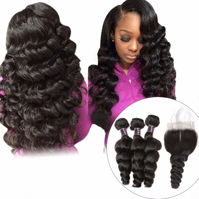 Raw Indian Loose Wave Human Hair Bundles With Lace Closure, Non Remy Hair 3 Bundles With Closure, Baby Hair 12 14 16 Closure 10Middle Part