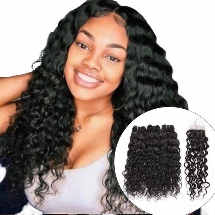 Peruvian Human Hair 3 Bundles Water Wave With Closure, Non Remy Hair Extension, Natural Color Hair Bundles 26 28 28 Closure20/Three Part