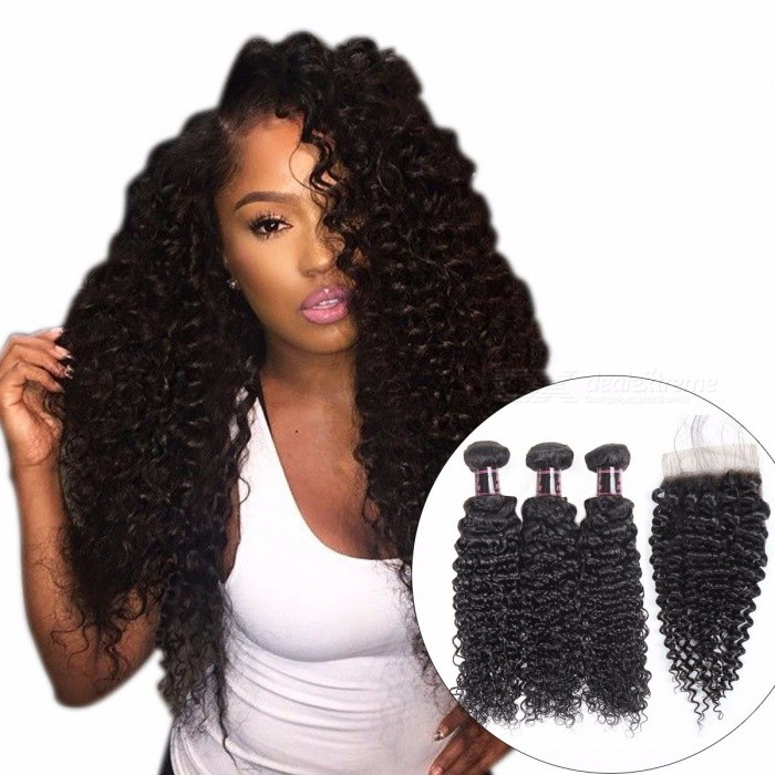 Afro Kinky Curly Weave Human Hair Bundles With Lace Closure, Non-remy Hair, Peruvian Hair Weave 3 Bundles With Closure 26 28 28 Closure20/Three Part