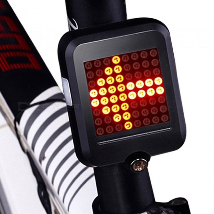 Bicycle Light Automatic Direction Indicator Taillight USB Charging MTB Bike Safety Warning Light Black