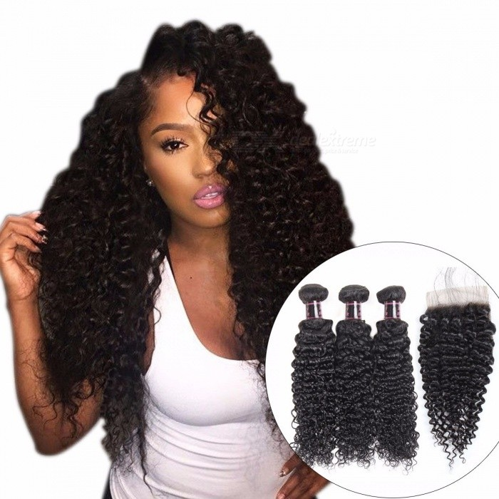 Indian Curly Lace Closure, 100% Human Hair 3 Bundles With Closure, 4*4 Free Part Natural Color Non Remy Hair Weaves 26 28 28 Closure20/Three Part
