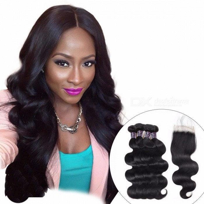 Indian Body Wave 4 Bundles Human Hair With Closure, 100% Human Hair Bundles Lace Closure With Baby Hair, Non Remy Hair 24 24 26 26 closure20/Three Part