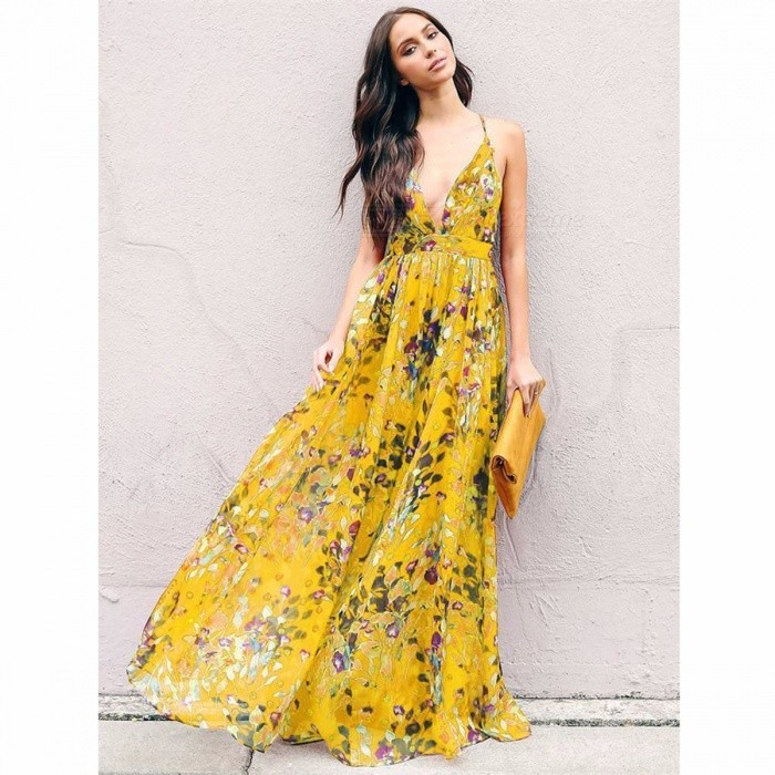 Fashion Style Summer Bohemian Style Floral Long Maxi Spaghetti Strap Empire Dress Beach Dress Sundress -Yellow