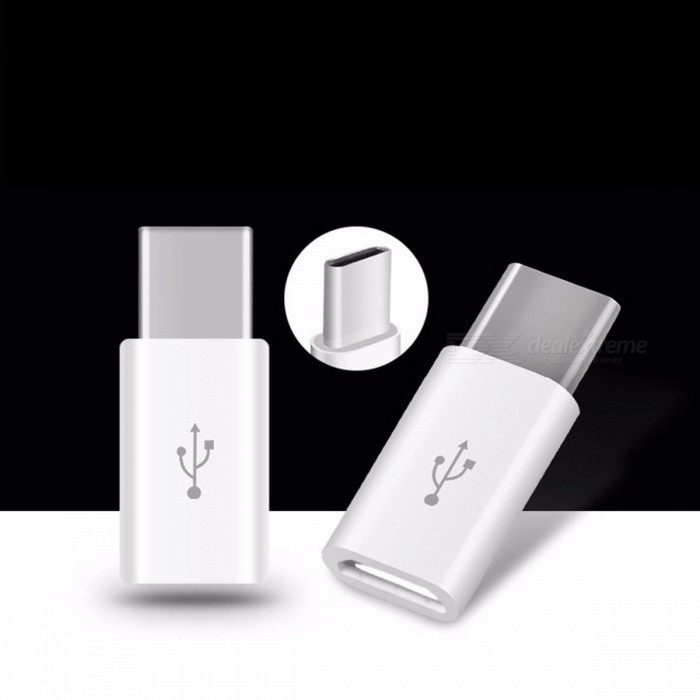 Android Micro USB To Type-C Portable Connector Adapter Converter USB Data Phone Charger White
