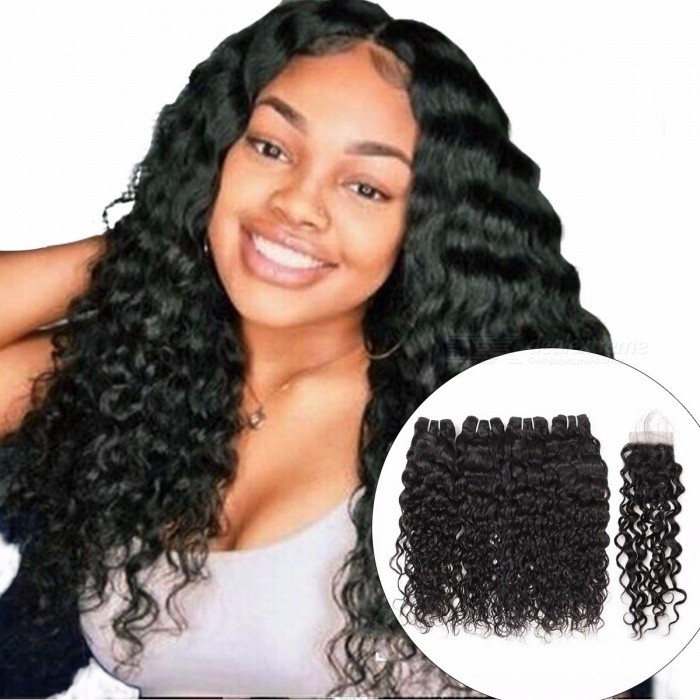 Peruvian Human Hair Water Wave 4 Bundles With Closure, Free Part Non Remy Hair Extension, Natural Color Hair Bundles 24 24 26 26 closure20/Three Part