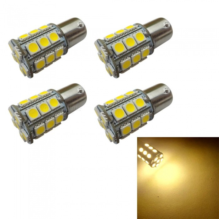 HONSCO 4Pcs 1156 BA15S P21W 27SMD 5050 LED Car Tail Bulb Brake Lights, DC12V 3W