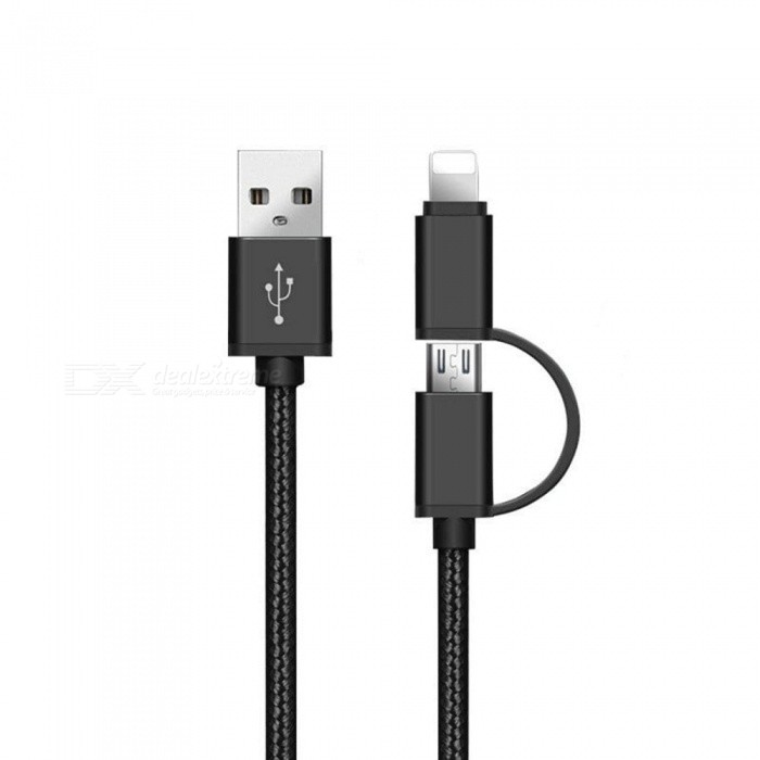 SZKINSTON 2 in 1 V8 Micro USB and Lightning Male to USB3.0 Male High Speed Charging Sync Data Cable