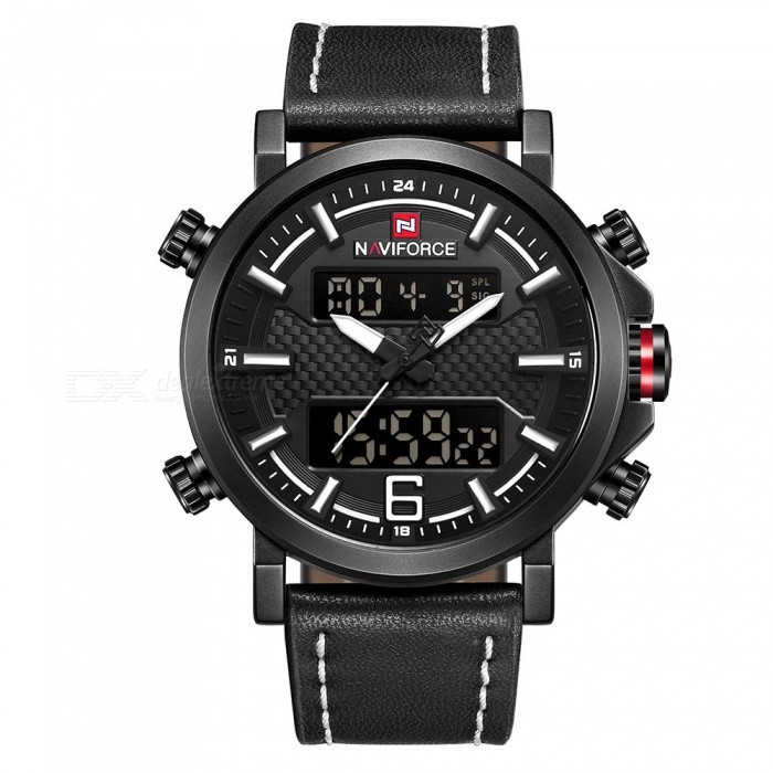 NAVIFORCE 9135 Men's Sports Leather Wrist Strap Analog Digital Quartz Watch - Black + White (Without Gift Box)