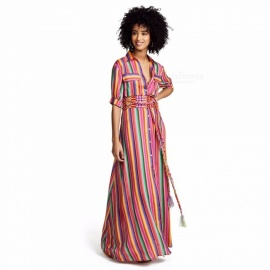 Womens-Rainbow-Striped-Dress-Summer-Fashion-Casual-Ladies-Elegant-Colorful-Dress-Multi-(Belt-NOT-Included)
