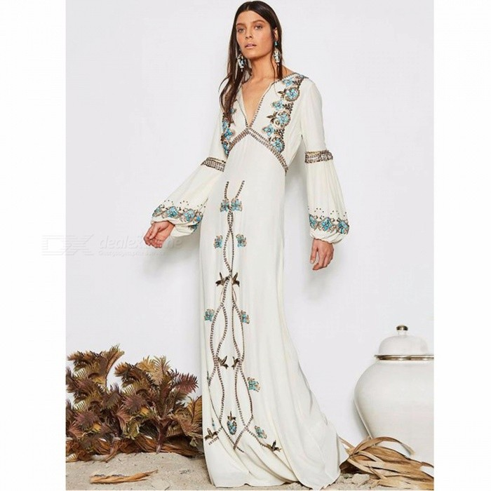Fashion White Embroidered Puff Sleeve Maxi Dress Women's Stylish Dress Clothes Clothing White/S