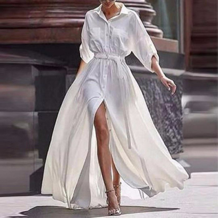 European Style Elegant Maxi Dress Puff Sleeve Cotton Dress For Women White/S