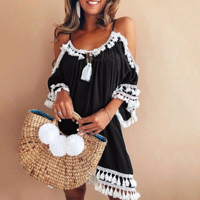 Fashion Summer Tassel Off-the-shoulder Slip Dress Holiday Beach Loose Casual Dress For Women Black/S