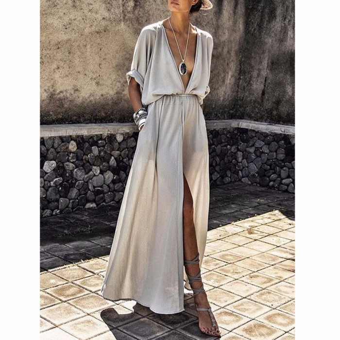 Sexy Deep V-neck Maxi Shirtdress Women\'s Stylish Slim Waist High Slit Dress Silver/XXL