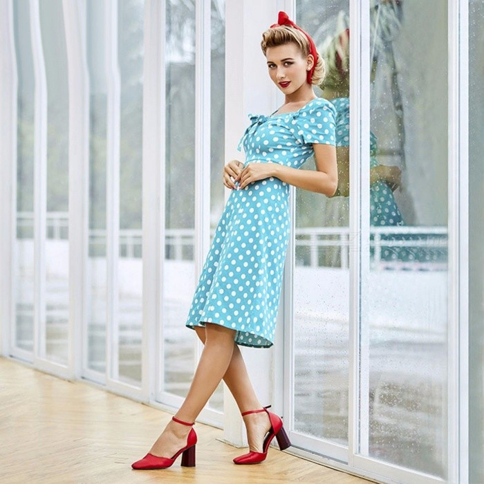 Vintage Polka Dot Dress Bowknot Elegant Ladies Retro Short Sleeves Dress For Women Turquoise/S