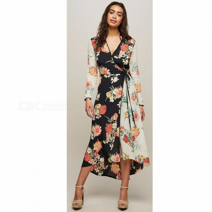 Fashion Bohemia Style Floral Print Dress Women's Stylish Elegant Beach Dress Ladies Clothing Multi/S