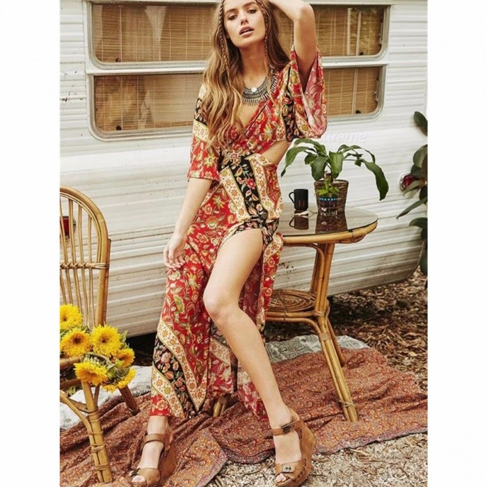 Retro Bohemia Style Dress Sexy Vintage High Slit Dress Holiday Beach Dress For Women Red/S