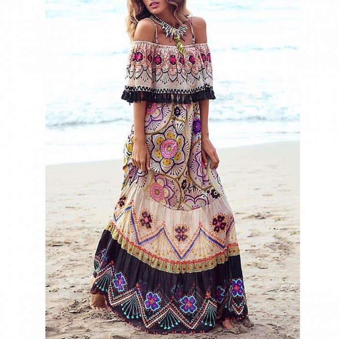 Stylish Bohemia Off-the-shoulder Maxi Dress Sexy Boat Neck Beach Dress For Women Multi/S
