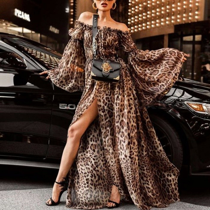 Sexy Leopard Style Maxi Dress Stylish Ladies Chiffon Boat Neck Flare Sleeve High Slit Dress For Women - Leopard
