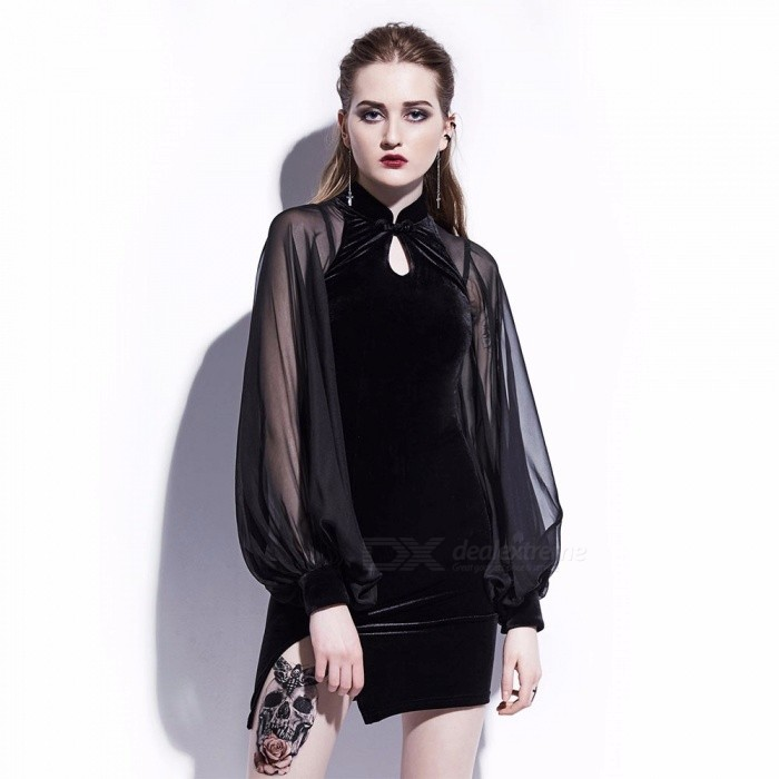 Women's Puff Sleeves Chiffon Velvet Slim Dress Elegant Cool Improved Cheongsam Female Girls Dress Clothing - Black