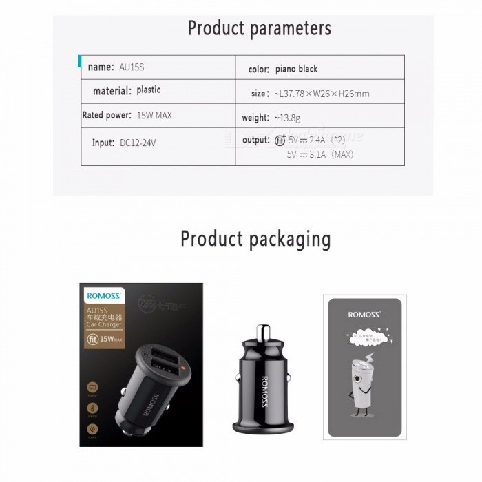 ROMOSS AU15S Mini USB Car Charger For Mobile Phone Tablet Fast Car-Charger Dual USB Car Portable Phone Charger Black